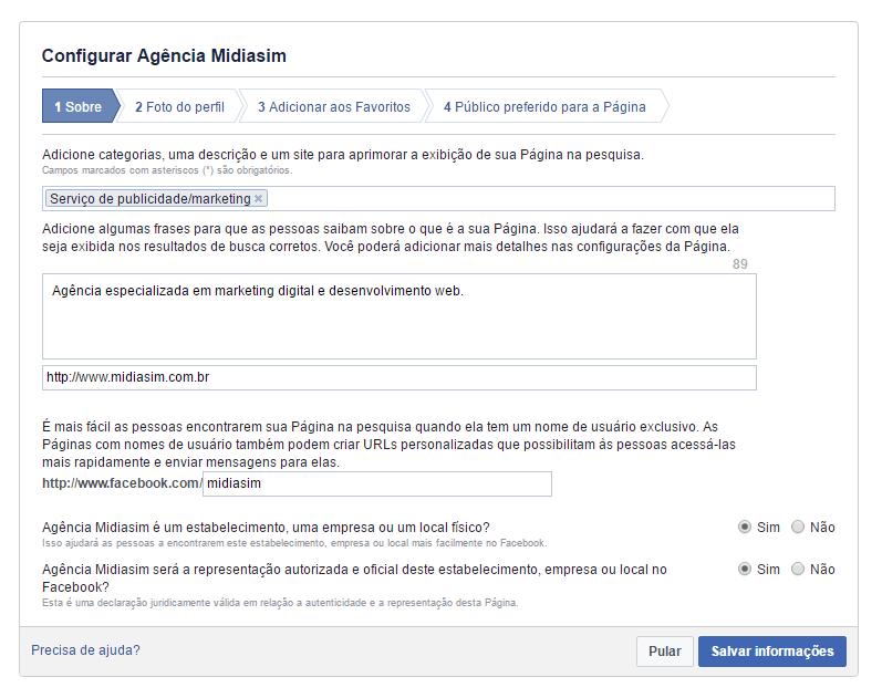 Configurar pagina Facebook