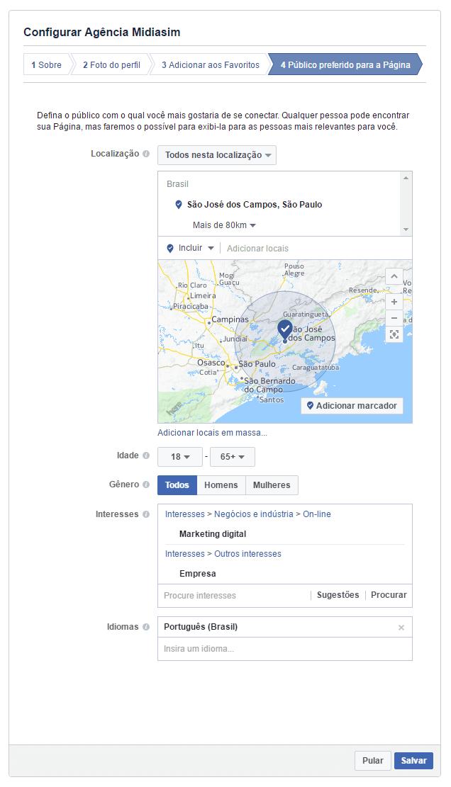 Configurar publico alvo Facebook