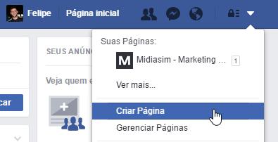 Link criar página Facebook